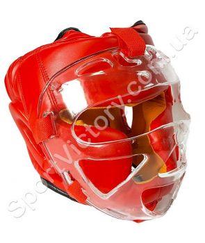 Боксерский шлем с прозрачной маской (красный)